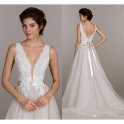 Swanky Discount 2016 New A Line Plunging Neckline Wedding Dresses Illusionbodice Sleeveless Custom Made Tulle Ruched Sweep Train Cheap Bridal Discount 2016 New A Line Plunging Neckline Wedding Dresses