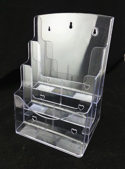 2018 Clear A4 Three Tiers Pamphlet Brochure Literature Plastic      keywords DL brochure literature display holder  acrylic brochure holder  brochure  racks  brochure display stand leaflet holder countertop display