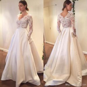 Cheery Discount Lace Wedding Dress See Through Sexy Bridal Gown Long Sleeves Vneck Engagement Dresses Custom Made Satin A Line Pocket Aline Weddingdresses Discount Lace Wedding Dress See Through Sexy