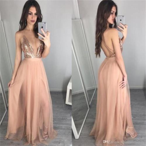Congenial Sexy Halter A Line Prom Dresses Plugging V Neck Backless Prom Gowns Sequin Custom Made Evening Party Dresses 2017 Prom Dresses Aqua Promdresses Sexy Halter A Line Prom Dresses Plugging V Nec