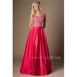 Fanciful Fuchsia G Appliques Long A Line Modest Prom Dresses Cap Sleevesclassic Length College Girls Formal Evening Wear Party Gowns Scalaprom Fuchsia G Appliques Long A Line Modest Prom Dresses Cap wedding dress Floor Length Dress
