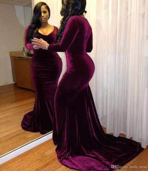 Fashionable Purple Velvet Cheap Prom Dresses 2017 Women Flowy Prom Dresses Girls Promdress Purple Velvet Cheap Prom Dresses 2017 Size Long Sleeves Deep V Neckformal Gowns Party Dresses Every Wear Size