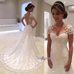 Jolly Sparkle Short Sleeves Wedding Dresses 2017 Lace Appliqued Sequinsmermaid Bridal Gowns Illusion Back Vintage Beach Wedding Gowns Straplesswedding Sparkle Short Sleeves Wedding Dresses 2017 Lace A