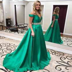 Pleasing Emerald Green Prom Gown 2017 A Line V Neck Off Shoulder Sexy Womenformal Party Dress Sweep Train Satin Evening Dresses Beads Waist Longsleeve Emerald Green Prom Gown 2017 A Line V Neck Off Sh