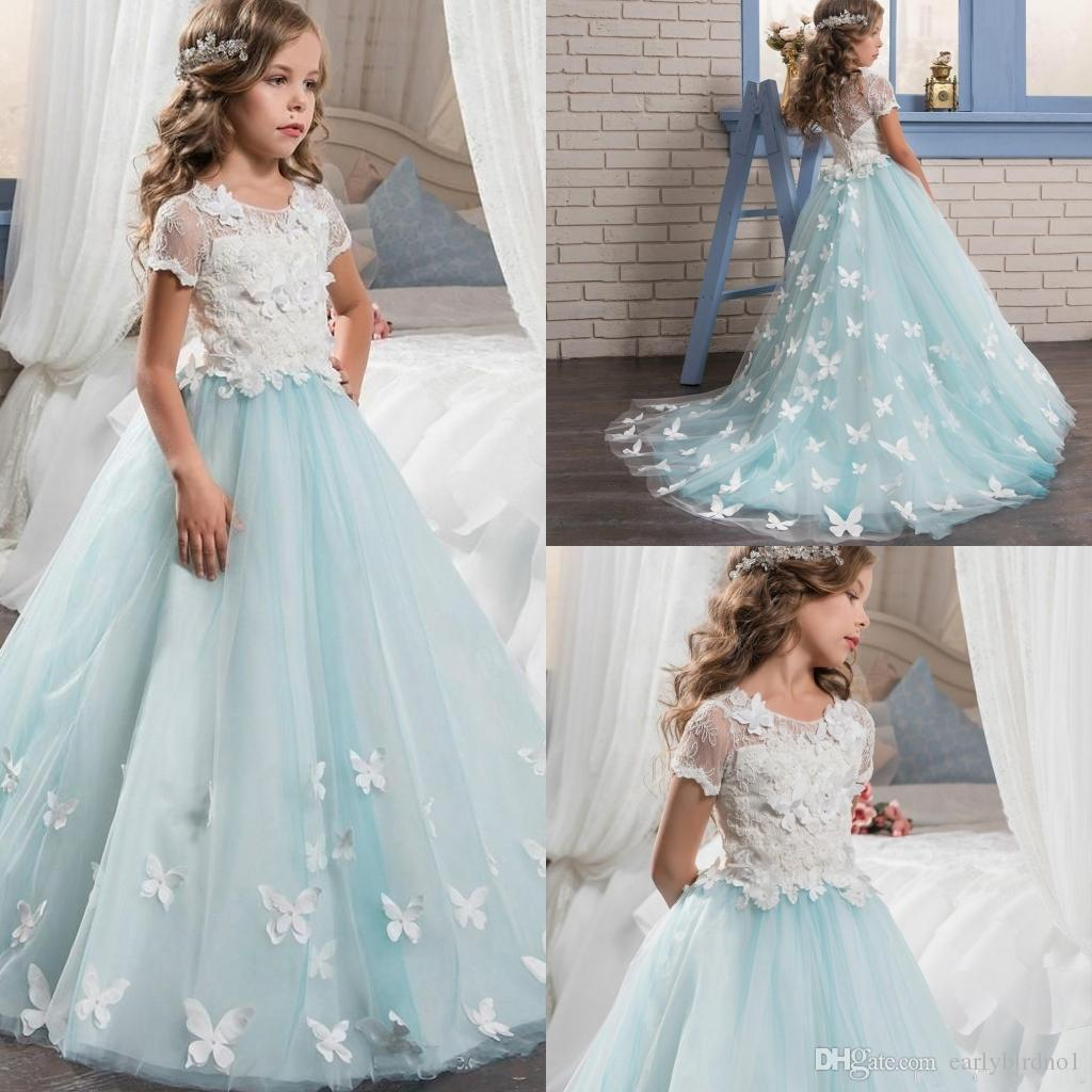 Cozy Lace Little Bride Flower Girl Dresses Short Sleeves Butterfly Sweep Train 2018 Kids Glitz Pageant Prom Party Gowns Girlsdresses Red Lace Little Bride Flower Girl Dresses Short Sleeves wedding dress White Flower Girl Dresses