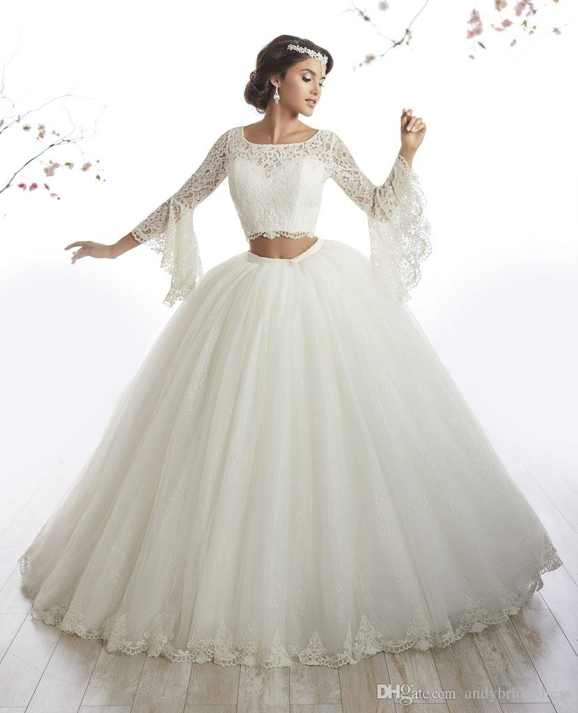 Pristine Arabic Style Ivory Lace Long Sleeve Two Piece Quinceanera Dress Gownsvestidos De Anos Debutante Ball Gown Long Prom Dress Quinceaneradresses Arabic Style Ivory Lace Long Sleeve Two Piece Quin wedding dress Ivory Lace Dress