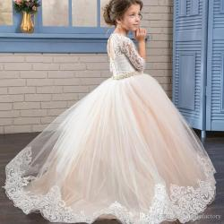 Princess Ball Gown First Communion Dresses With 34 Sleeves Sheer