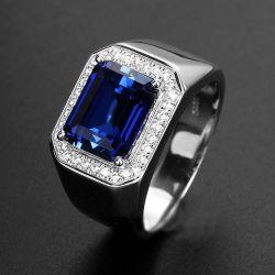 Attractive Side Diamonds Blue Corundum Mens Sapphire Ring Side Diamonds Blue Corundum Silveropen End Ring Plated Platinum Ring Tanzania Color Mens Sapphire Ring Bluecorundum Mens Sapphire Ring