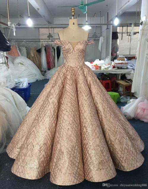Beauteous Real Dubai Rose G Lace Ball Gown Wedding Dresses 2018 Off Shoulders Heavily Embelishment Long Train Bridal Wedding Gowns Formal Ballgowns Real Dubai Rose G Lace Ball Gown Wedding Dresses 201