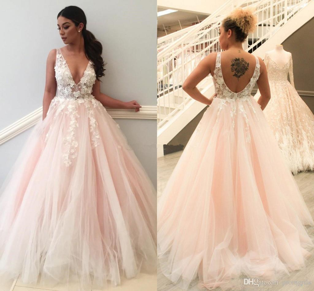 Fantastic 2018 Blush Pink Sexy Deep V Neck Prom Dresses Illusion Tulle Backless Aline Evening Gowns Formal 2018 Blush Pink Sexy Deep V Neck Prom Dresses Illusion Tulle wedding dress Petite Prom Dresses