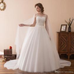 Particular 2018 Luxury Grade Lace Tail Wedding Dress Custom Bride Tail Wedding Dress Custom Bride Princessembroidery O Neck Wedding Gown Priced Wedding Dresses Designerfor 2018 Luxury Grade Lace
