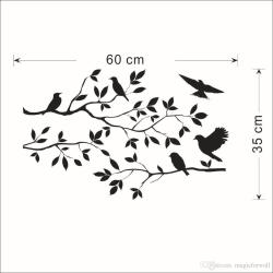 Stylized Tree Branch Leaves Wall Sticker Decal Removable Birds Black Bird Tree Branch Leaves Wall Sticker Decal Removable Birds On Branch Tree Art Black Bird