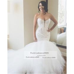 Grande Size Luxury Ivory Lace Mermaid Wedding Dresses Heart Appliques Puffy Luxury Ivory Lace Mermaid Wedding Dresses Heart Appliques Puffy Tulleball Gown Wedding Dress wedding dress Mermaid Wedding Dresses