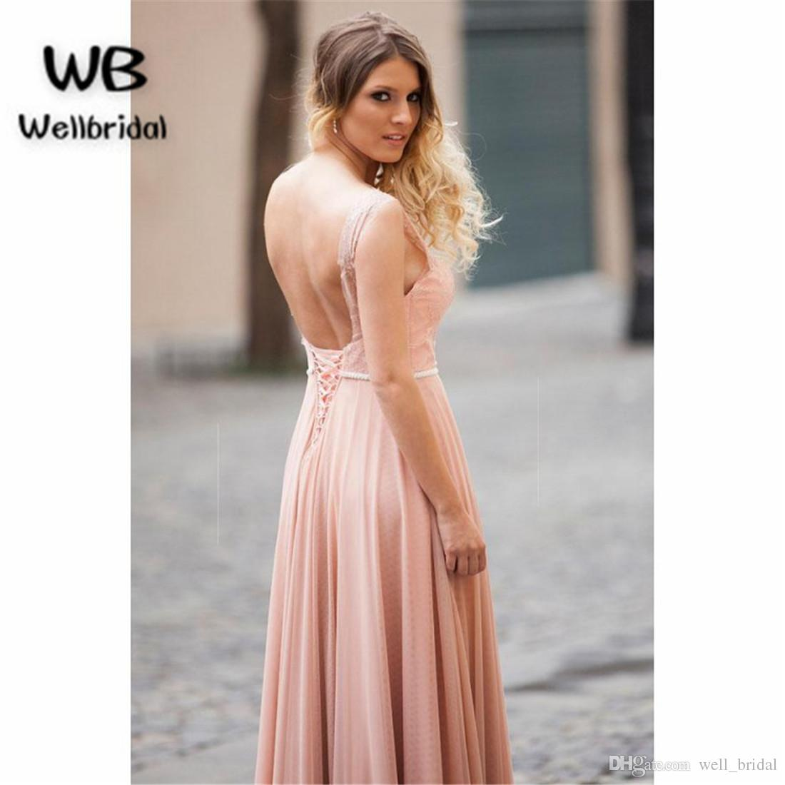 Catchy Illusion 2018 Blush Pink Evening Dresses Long Lace Dressesvelvet Sweep Train Backless Illusion 2018 Blush Pink Evening Dresses Long Lace photos What Color Is Blush