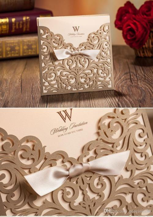 Cordial Vintage Lace Wedding Invitation Cards Laser Cut G Hollow Flowerspersonalized Ribbon Bow Knot Wedding Invitations Vintage Lace Wedding Invitation Cards Laser Cut G Hollow Flowers