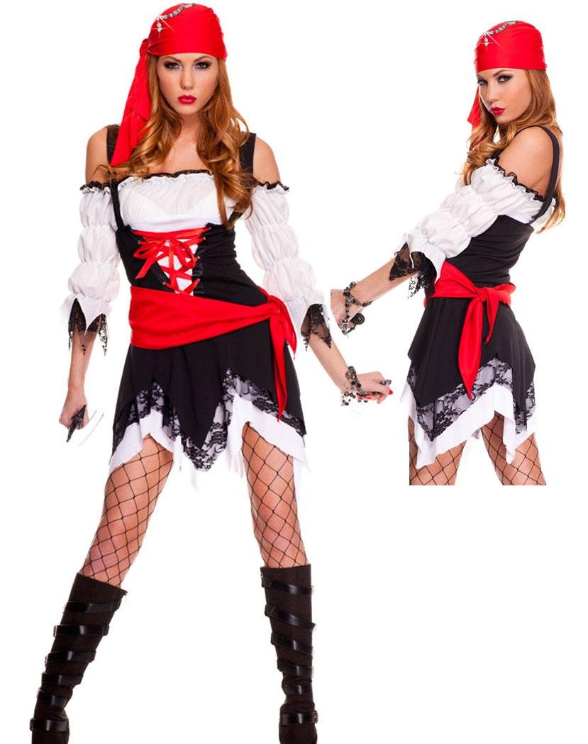 Elegant Cosplay Sexy Costumes Women Pirate Costume Pirate Vixen Girl Women Pirate Costume Pirate Vixen Girl Costumelace Up Front Off Shoulder Tie Long Sleeves Girl Group Costumes Cosplay Sexy Costumes baby Girl Pirate Costume