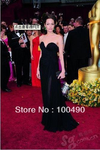 2014 New Fashion Sheath Red Chiffon formal Sexy Floor Length Angelina Jolie Evening Prom Dresses