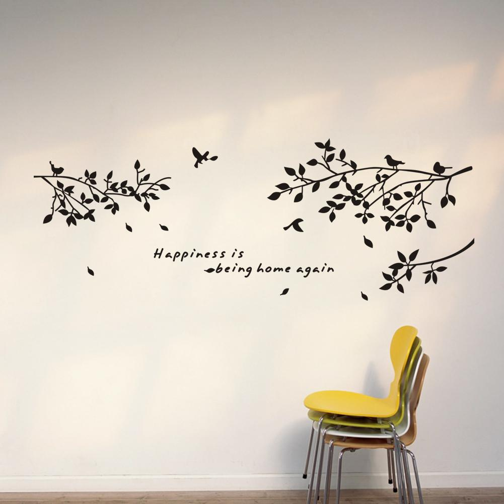 Peachy Birds Happiness Is Being Home Again Vinyl Quotes Wall Stickers Black Quotes About Homeschool Quotes About Homesickness Happiness Is Being Home Quotes Wall Stickers Black Treebranch inspiration Quotes About Home