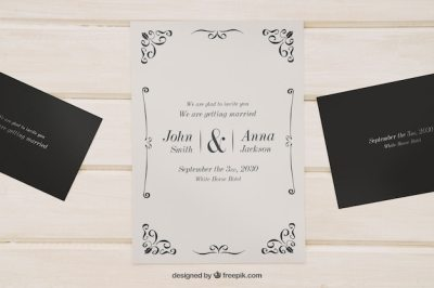 Mock up for wedding invitations PSD file   Free Download