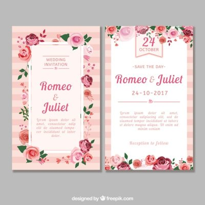 Flat wedding invitation with roses Vector | Free Download