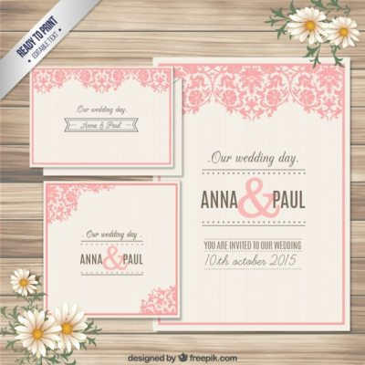 Ornamental wedding invitation card Vector | Free Download
