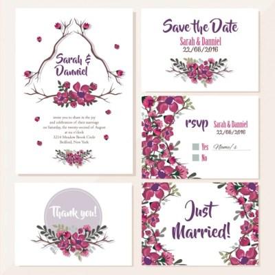 Wedding invitations floral design Vector | Free Download