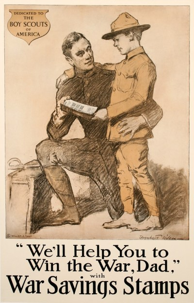 WE'LL HELP YOU TO WIN THE WAR DAD ORIGINAL VINTAGE WWI POSTE