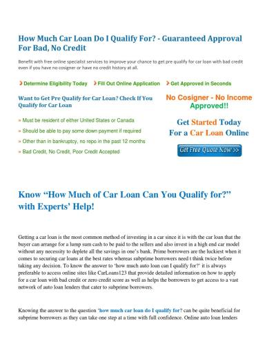 How much auto loan can I qualify for by jesica robinson - issuu