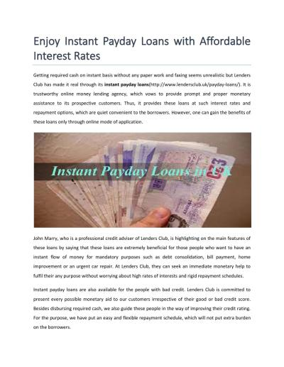 Enjoy instant payday loans with affordable interest rates by Lenders Club - Issuu