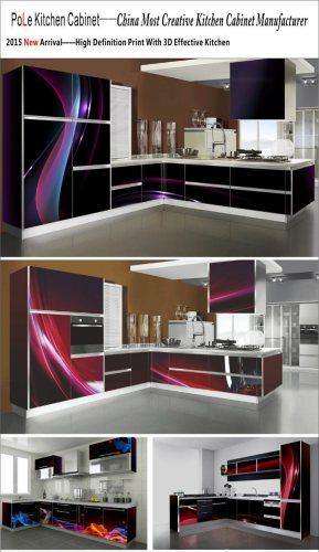 L Shaped White Color 3D Inkjet Kitchen Cabinet SM 0016