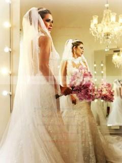 Trumpet/Mermaid Chapel Train Lace Satin Tulle Appliques Lace High Neck Wedding Dresses #PWD00021503