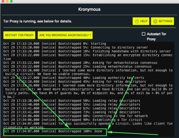 Kronymous Successful Tor Connection