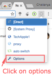 Select Options from the drop down menu