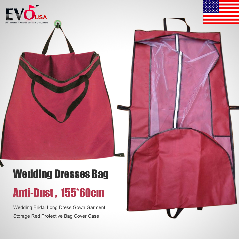 wedding dress protective bag wedding dress storage Wedding Bridal Long Dress Gown Garment Storage Protective Bag Cover Case Red