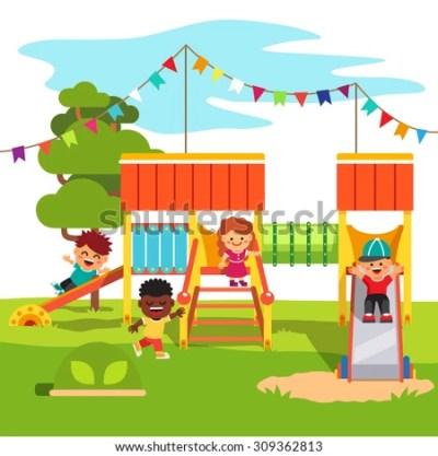 Kindergarten Outdoor Park Playground Slide With Playing Kids. Flat Style Cartoon Vector ...