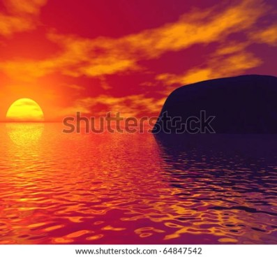 Beautiful orange sunset with water and mountain