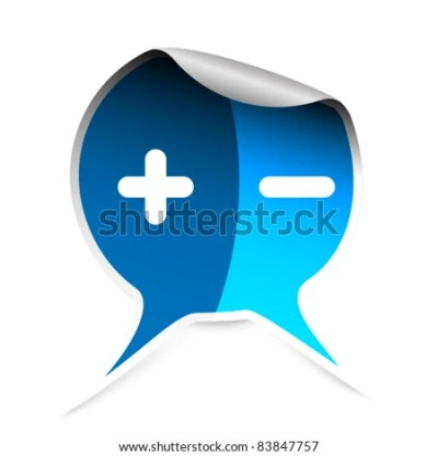 Blue Sticker With Plus And Minus Symbols Stock Vector Illustration 83847757 : Shutterstock