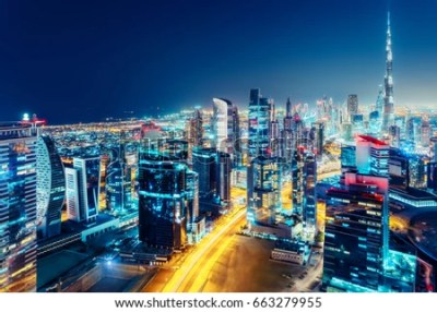 Nighttime Skyline Dubai United Arab Emirates Stock Photo (Edit Now) 663279955 - Shutterstock