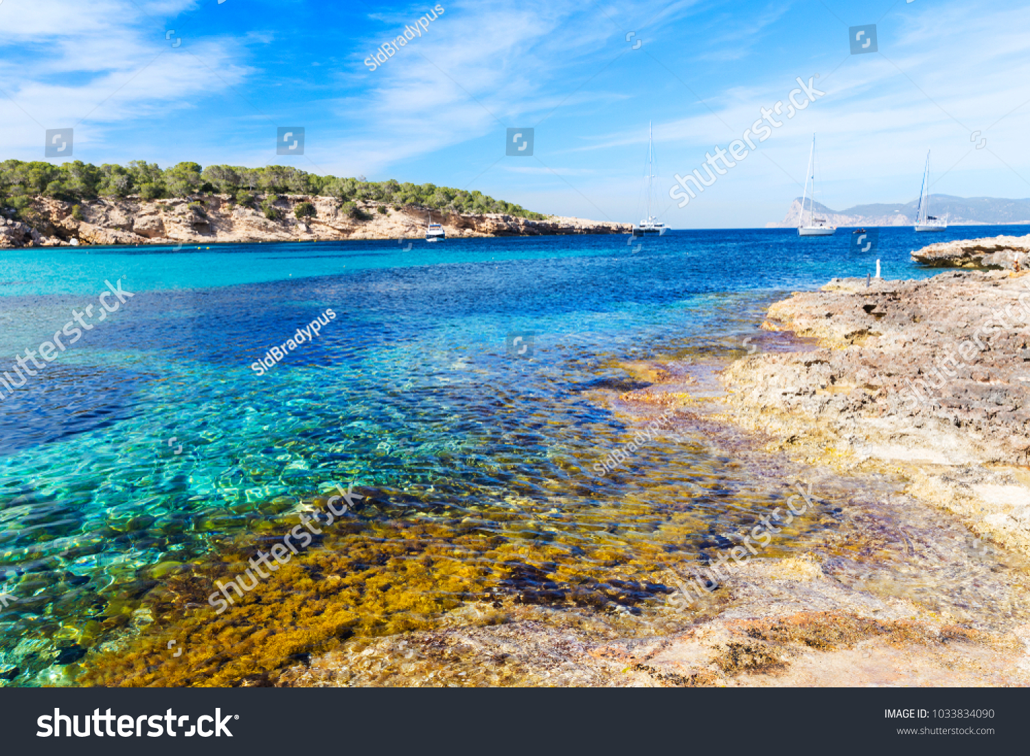 View Beautiful Beach Ibiza Island Balearic Stock Photo  Royalty Free     A view of the beautiful beach in Ibiza Island  Balearic Islands  Spain