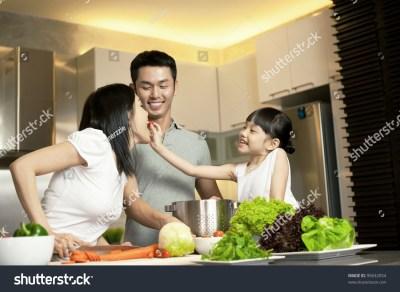 Asian Family Kitchen Lifestyle Stock Photo 95632054 ...
