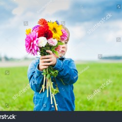 Beautiful Bouquet Bright Colorful Flowers Holding Stock Photo