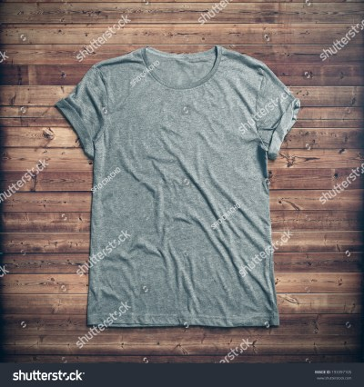 Grey T-Shirt On Wood Background Stock Photo 193397105 : Shutterstock