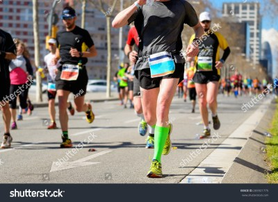 Marathon Running Race Runners Feet On Stock Photo ...