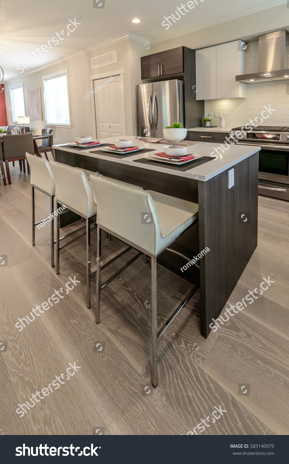 stock photo nicely decorated kitchen counter table iceland table and dining table and living room at the back 583140979