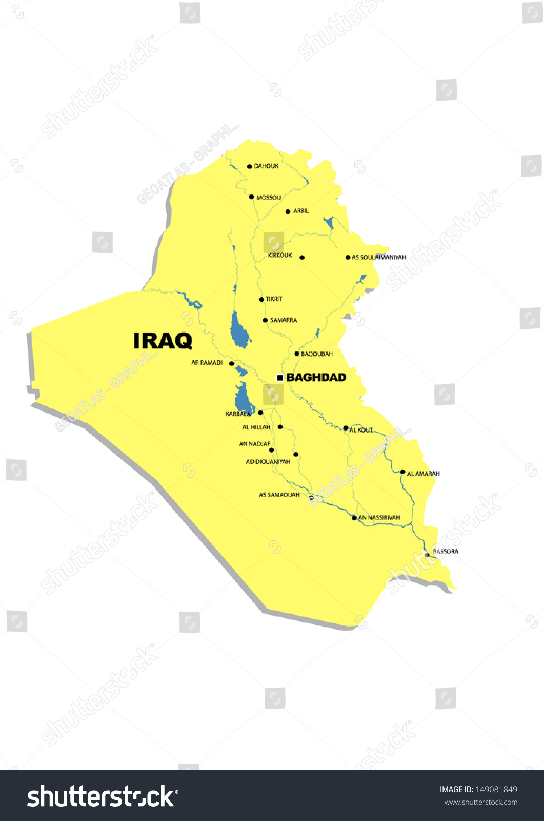 Simple Map Iraq Stock Illustration 149081849   Shutterstock Simple map of Iraq