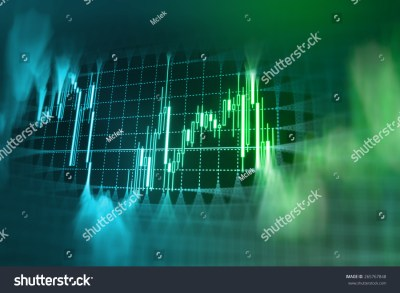 Stock Market Graph And Bar Chart Price Display. Data On Live Computer Screen. Display Of Quotes ...