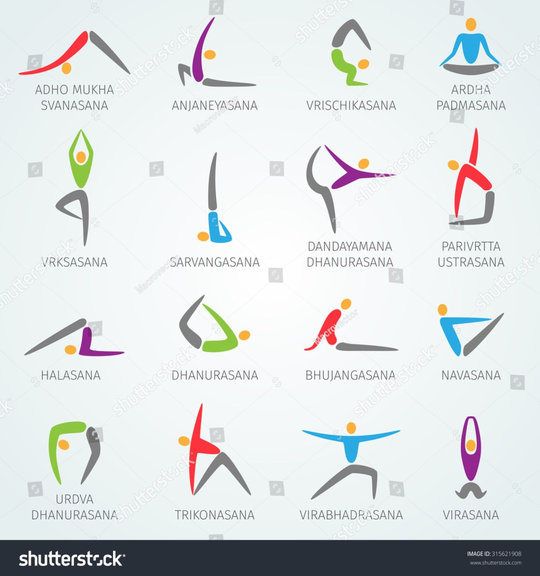 Yoga Positions Names Physical Workout Training Stock Ilration