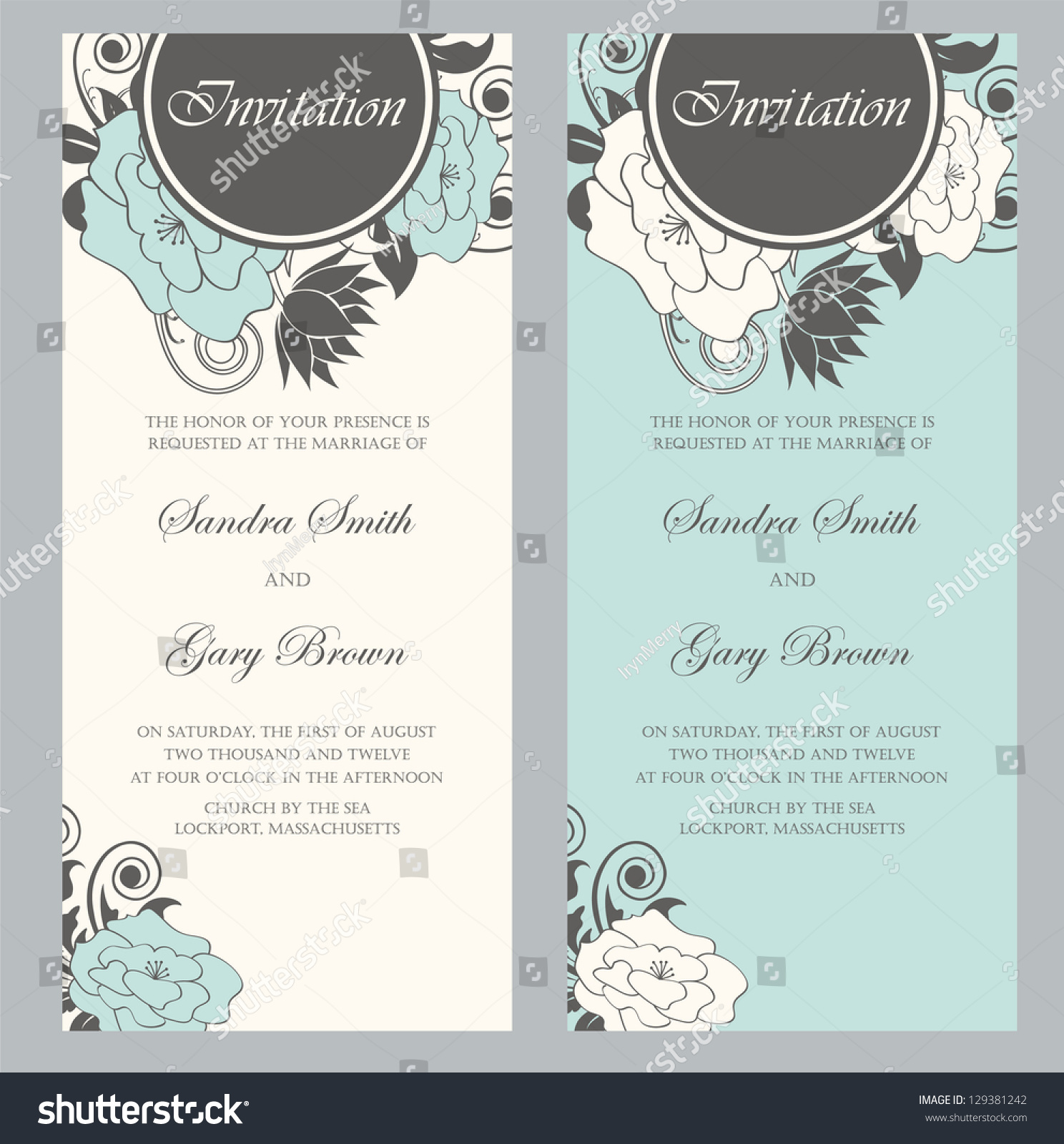 stock vector beautiful floral wedding invitations vector illustration floral wedding invitations Beautiful floral wedding invitations Vector illustration