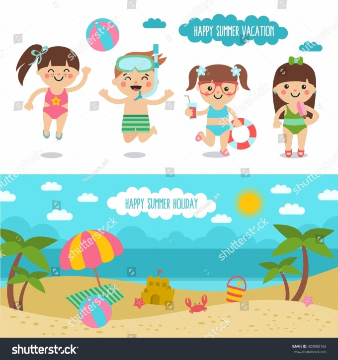 Happy Summer Vacation Awesome Cartoon Beach Stock Vector 423988768