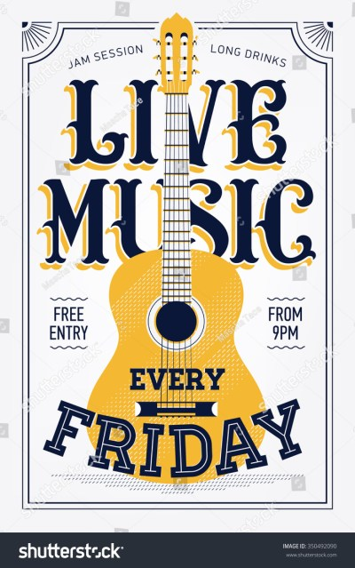 Vintage Live Music Every Friday Vector Stock Vector 350492090 - Shutterstock